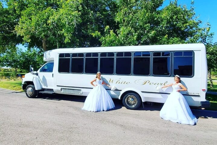 White Pearl Trolley Express Party Bus Limousine